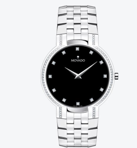 Movado Faceto Stainless Steel Bracelet Watch With Diamonds 0606237 Replica Watches