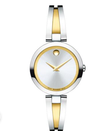 MOVADO Aleena Women stainless steel and yellow gold PVD-finished Stainless Steel Bangle Watch Replica Watch 0607150