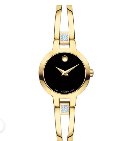 MOVADO Amorosa Women yellow gold PVD-finished Stainless Steel Bangle Watch Replica Watch 0607155