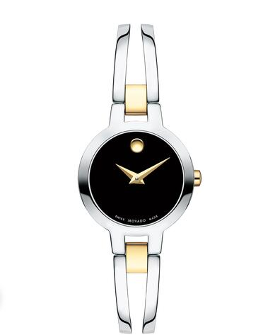 MOVADO Amorosa Stainless Steel and yellow gold PVD Bangle Watch Replica Watch 0607184