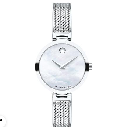 MOVADO AMIKA stainless steel watch with white dial, silver accents and mesh bracelet Replica Watch 0607361