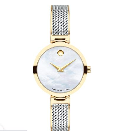 MOVADO AMIKA two-toned watch with white dial, pale gold accents and mesh bracelet Replica Watch 0607362
