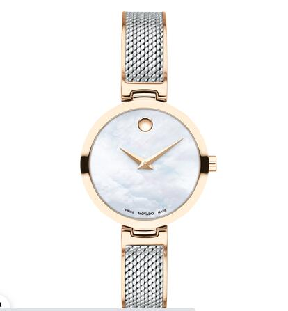 MOVADO AMIKA two-toned watch with white dial, pale rose gold accents and mesh bracelet Replica Watch 0607363
