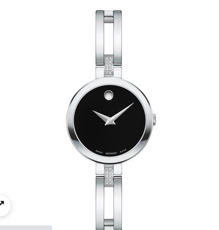 MOVADO Esperanza stainless steel case and bangle with black dial Replica Watch 0607471