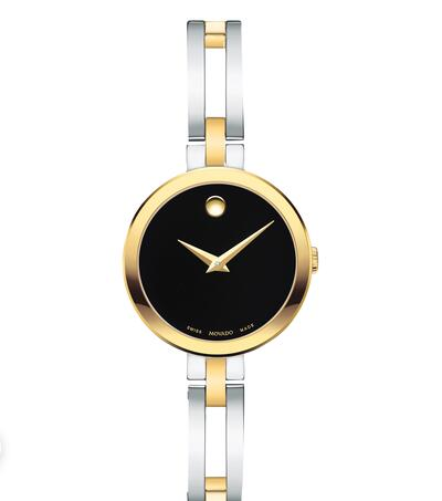 MOVADO Esperanza two-tone stainless steel and gold case and bangle with black dial Replica Watch 0607472