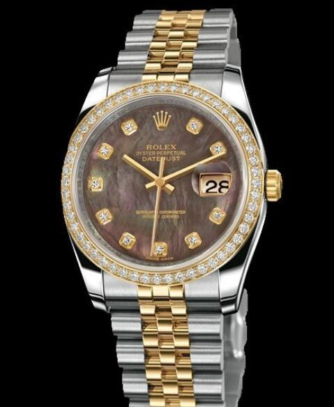 Replica Rolex Watches for Women Watch Rolex Datejust Rolesor 36 mm Oyster Perpetual 116243-63603 Yellow Rolesor - Setted Bezel & Diamonds Indexes