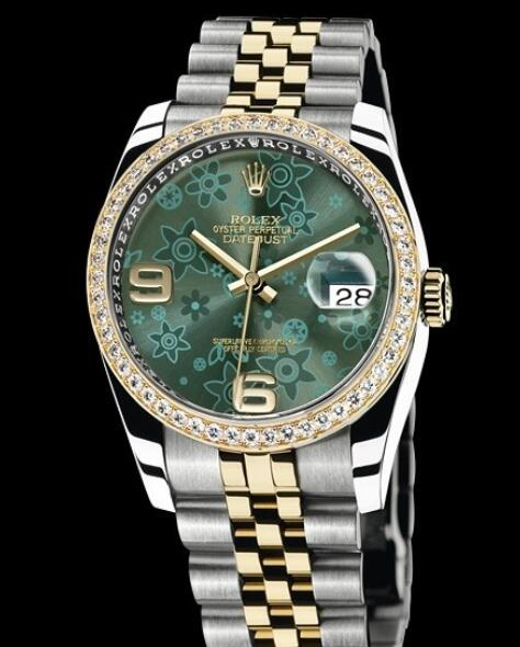 Replica Rolex Watches for Women Watch Rolex Datejust Rolesor 36 mm Oyster Perpetual 116243-63603 Yellow Rolesor - Setted Bezel & Green Dial