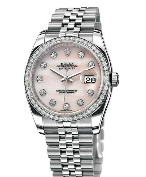 Replica Rolex Watches for Women Watch Rolex Datejust Rolesor 36 mm Oyster Perpetual 116244-63600 White Rolesor - Setted Bezel & Diamonds Indexes