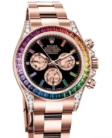 Replica Rolex Watch Women Oyster Perpetual Cosmograph Daytona Rainbow 116595 RBOW - 78595 A Everose Gold - Diamonds - Sapphires