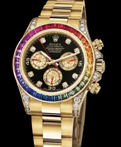 Rolex Watches Oyster Perpetual Cosmograph Daytona Rainbow 116598 RBOW-78608 Yellow Gold - Diamonds - Sapphires