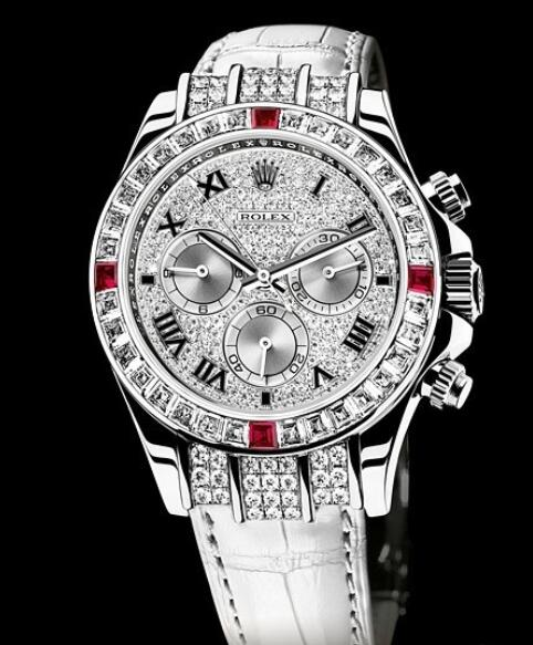 Replica Rolex Watches for Women Watch Rolex Cosmograph Daytona Oyster Perpetual 116599 4RU White Gold - Paved Dial - Bezel set with Diamonds and Rubies