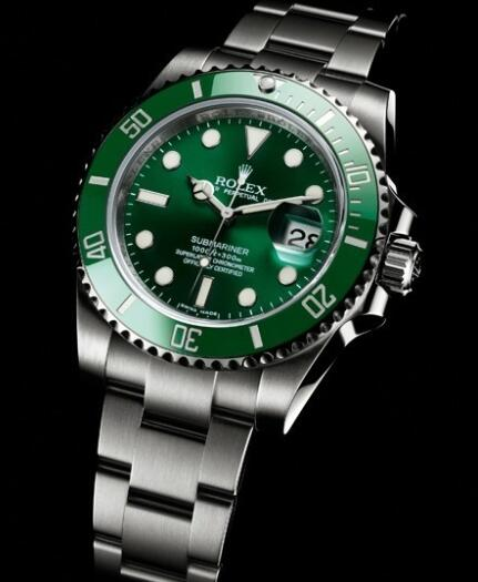 Rolex Watch Replica Oyster Perpetual Submariner Date 116610 LV / 97200 Steel - Green Cerachrom Bezel
