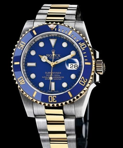 Rolex Replica Watch Oyster Perpetual Submariner Date Rolesor 116613 LB / 97203 Yellow Rolesor - Blue Dial