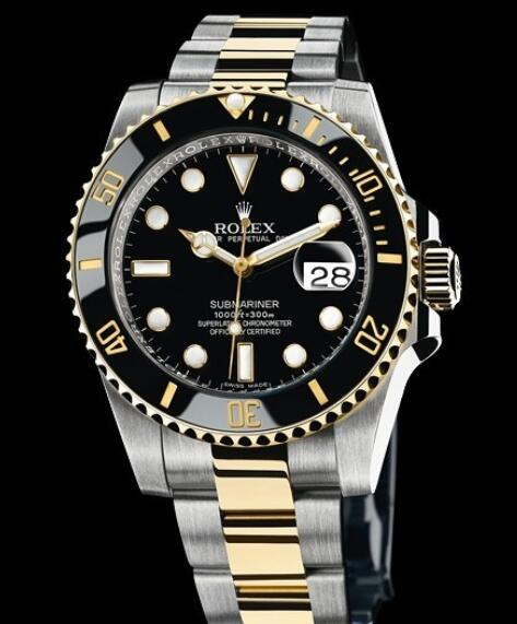 Rolex Replica Watch Oyster Perpetual Submariner Date Rolesor 116613 LN / 97203 Yellow Rolesor - Black Dial