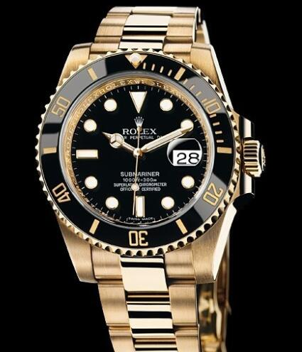 Rolex Watch Oyster Perpetual Submariner Date 116618 LN / 97208 Yellow Gold - Black Cerachrom Bezel