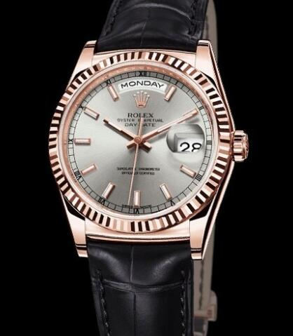 Rolex Watches Oyster Perpetual Day-Date 118135 everose Gold - Rhodium Dial - Alligator Bracelet