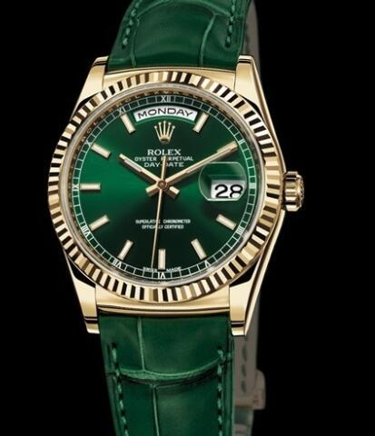 Rolex Watches Oyster Perpetual Day-Date 118138 Yellow Gold - Green Dial - Alligator Strap