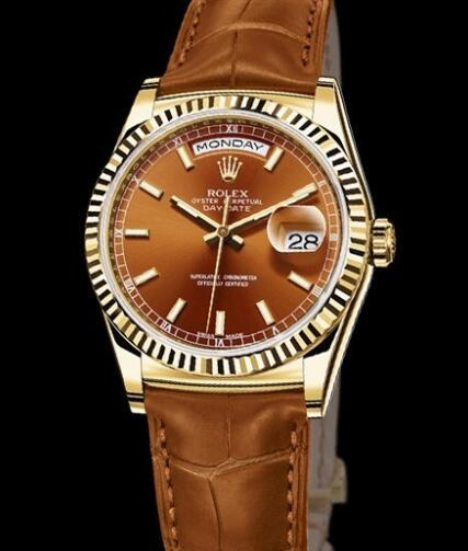 Rolex Watches Oyster Perpetual Day-Date 118138 Yellow Gold - Cognac Dial - Alligator Bracelet