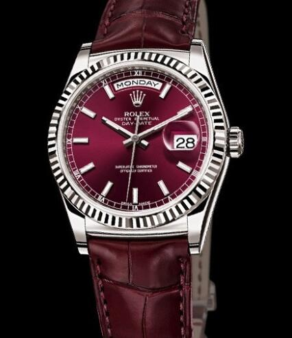 Rolex Watches Oyster Perpetual Day-Date 118139 White Gold - Cherry Dial - Alligator Bracelet