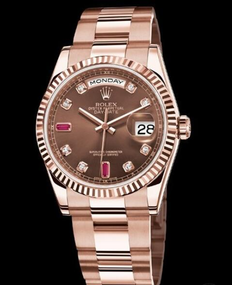 Replica Rolex Watch Rolex Day-Date Or Everose Oyster Perpetual 118235-73205 Everose Gold - Diamonds & Rubies Indexes