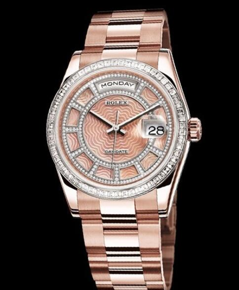 Replica Rolex Watch Rolex Day-Date 'Sertie' Oyster Perpetual 118395BR Everose God - Diamonds - Pink Mother-of-Pearl