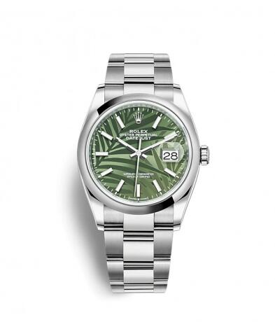 Rolex Datejust 36 Stainless Steel / Domed / Green Palm / Oyster Replica Watch 126200-0020
