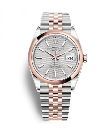 Rolex Datejust 36 Stainless Steel / Everose / Domed / Silver – Fluted / Jubilee Replica Watch 126201-0033