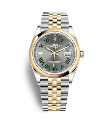 Rolex Datejust 36 Stainless Steel / Yellow Gold / Smooth / Slate Roman / Jubilee Replica Watch 126203-0035