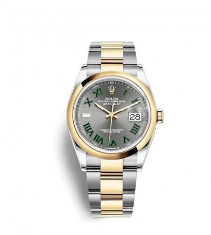 Rolex Datejust 36 Stainless Steel / Yellow Gold / Smooth / Slate Roman / Oyster Replica Watch 126203-0036