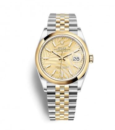 Rolex Datejust 36 Stainless Steel / Yellow Gold / Smooth / Golden Palm / Jubilee Replica Watch 126203-0037