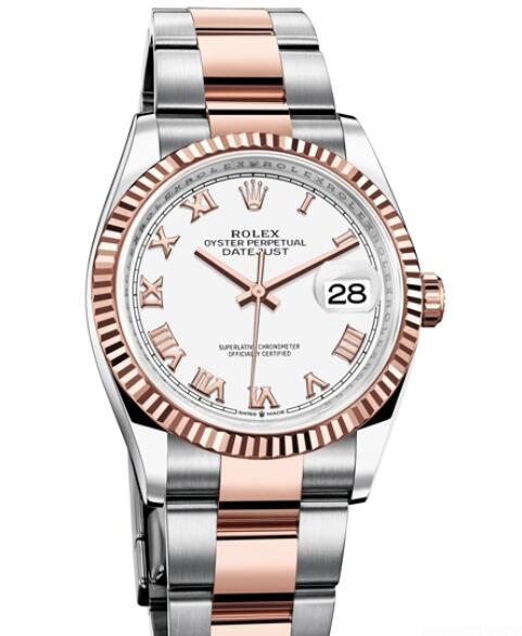 Replica Rolex Watch Women Oyster Perpetual Datejust 36 126231 - 72801 Everose Rolesor - White Dial