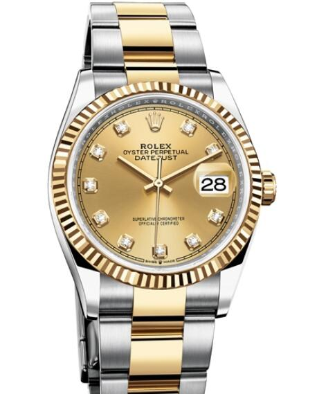 Replica Rolex Watch Women Oyster Perpetual Datejust 36 126233 - 72803 Yellow Rolesor - Champagne-colour Dial