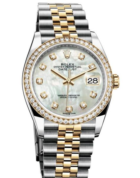 Fake Rolex Women Watch Datejust 36 Oyster Perpetual 126283 RBR - 62803 Yellow Rolesor - Diamonds - White Mother-of-pearl Dial