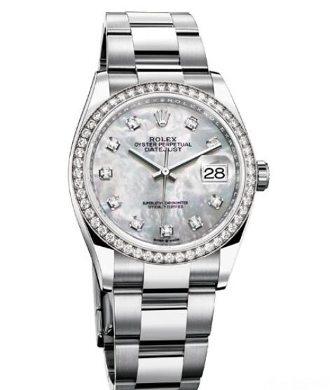 Fake Rolex Women Watch Datejust 36 Oyster Perpetual 126284RBR White Rolesor - Diamonds