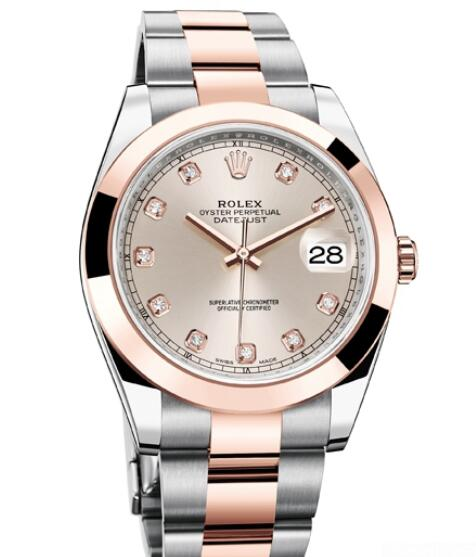 Replica Rolex Watch Women Oyster Perpetual Datejust 41 126301 - 72611 Everose Rolesor - Diamonds - Everose Rolesor Bracelet