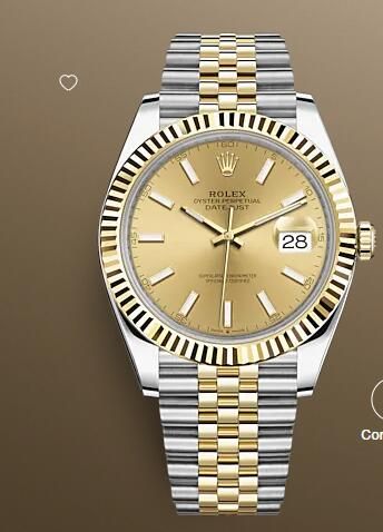 Replica Rolex Datejust 41 Watch Yellow Rolesor combination of Oystersteel and 18 ct yellow gold 126333-0010