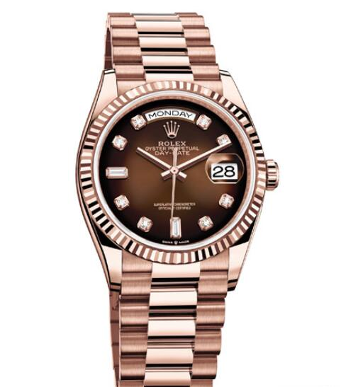 Fake Rolex Women Watch Day-Date 36 Oyster Perpetual 128235 Everose Gold - Diamond Indexes