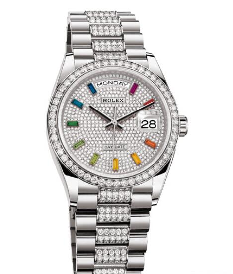 Fake Rolex Women Watch Day-Date 36 Oyster Perpetual 128349RBR-84809BR White Gold - Diamonds - Sapphires