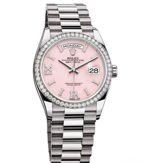 Fake Rolex Women Watch Day-Date 36 Oyster Perpetual 128349RBR White Gold - Diamonds