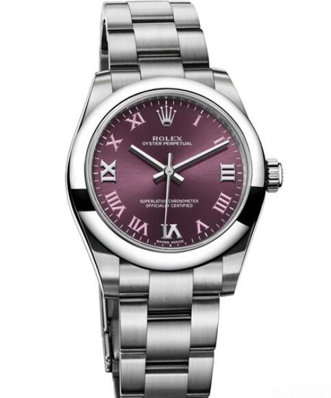Replica Rolex Watch Women Oyster Perpetual 177200 – 70160 Steel - Red Grape Dial - Steel Bracelet