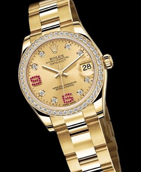 Replica Rolex Watches for Women Watch Rolex Datejust Lady 31 mm Oyster Perpetual 178288-73168 Yellow Gold - Diamonds & Rubies