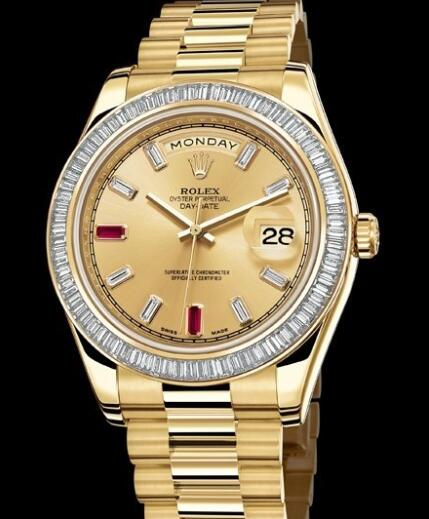 Rolex Watches Oyster Perpetual Day-Date II 218398 BR-83218 Yellow Gold - Diamonds & Rubies