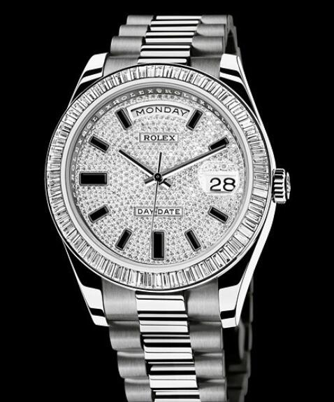 Rolex Replica Watch Oyster Perpetual Day-Date II 218399 / 83219 White Gold - Setted Bezel & Paved Dial