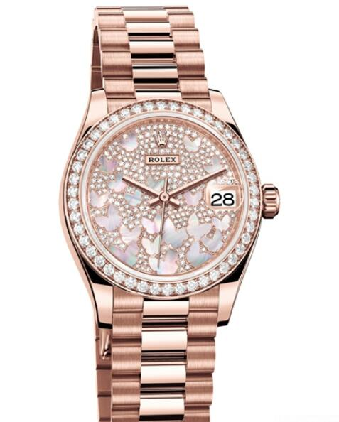 Fake Rolex Women Watch Datejust 31 Oyster Perpetual 278285 RBR - 83365 Everose Gold - Diamonds - Diamonds and Mother-of-Pearl Dial