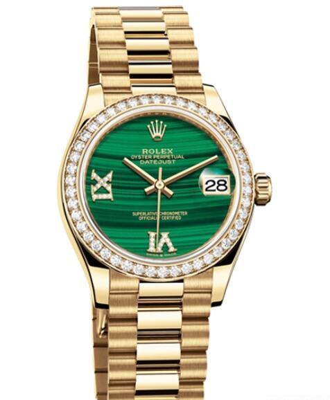 Fake Rolex Women Watch Datejust 31 Oyster Perpetual 278288 RBR - 83368 Yellow Gold - Diamonds - Malachite Dial