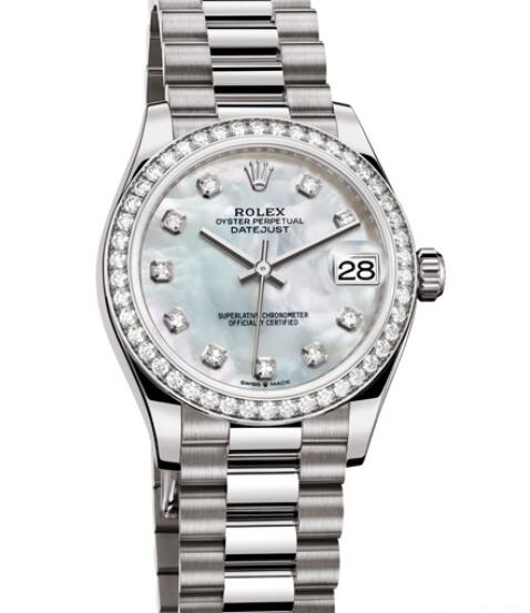 Fake Rolex Women Watch Datejust 31 Oyster Perpetual 278289 - 83369 White Gold - Diamonds - White Mother-of-Pearl Dial