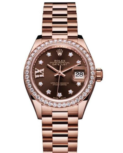 Replica Rolex Watch Women Oyster Perpetual Lady-Datejust 28 279135 RBR – 83345 Everose Gold - Diamonds - Chocolate Dial - Everose Gold Bracelet