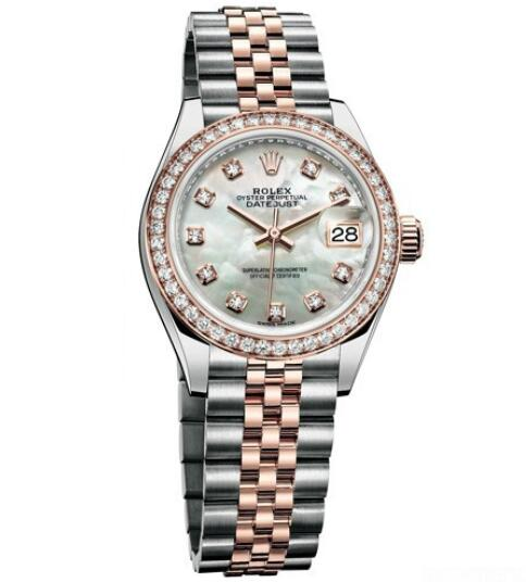 Replica Rolex Watch Women Oyster Perpetual Lady-Datejust 28 279381 RBR - 63341 Everose Rolesor - Diamonds - Everose Rolesor Bracelet