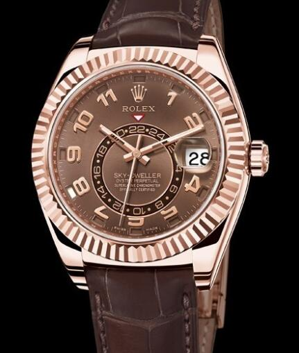 Rolex Watch Oyster Perpetual Sky-Dweller 326135 Everose Gold - Brown Alligator Strap