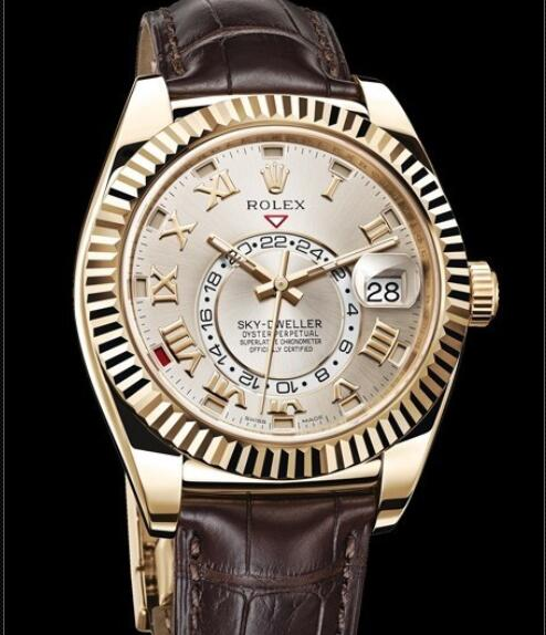 Rolex Oyster Perpetual Watches Sky-Dweller 326138A Yellow Gold - Brown Alligator Strap